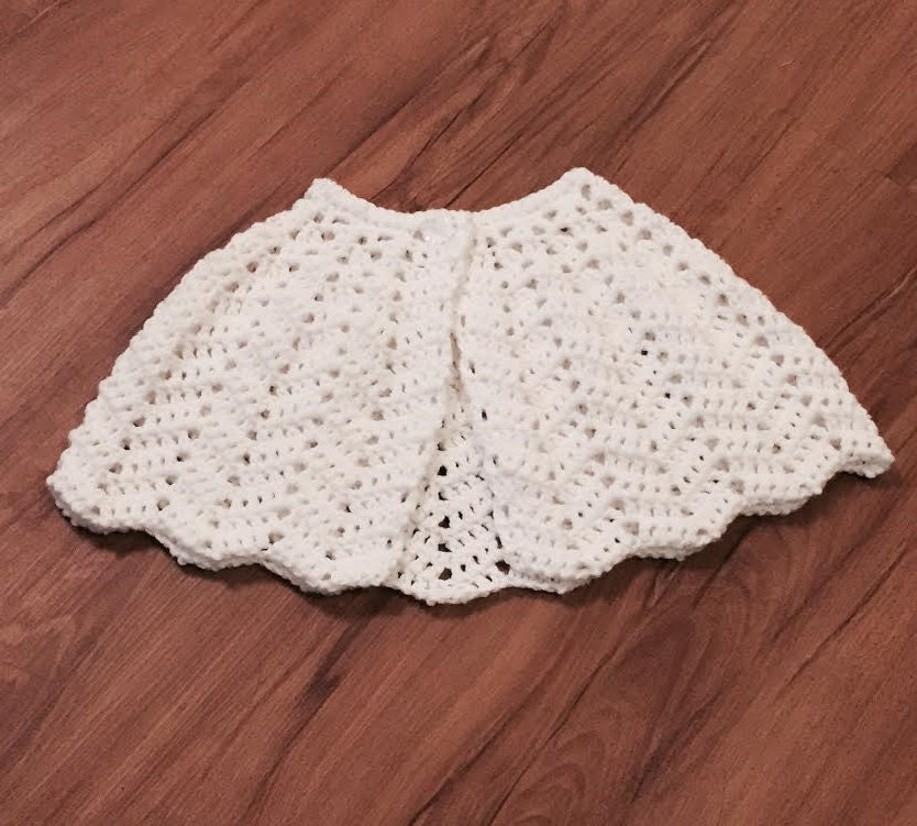 Little Girls Shawl Capelet Communion Shawl Flower