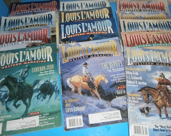 Large lot of 12 Louis L'Amour Western magazines set of twelve cowboy stories and adventures