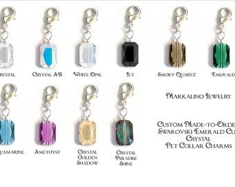 Custom Zipper Pull / Pet Collar Charm - Swarovski Emerald Cut in Silver - 10 Colors - 2 Sizes - Made to Order - CPC204