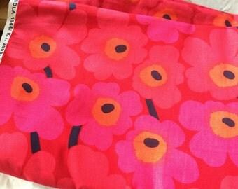 "1/2 yards Marimekko Mini Unikko fabric, pink and red, 18x56"", 46 cm x 140cm"