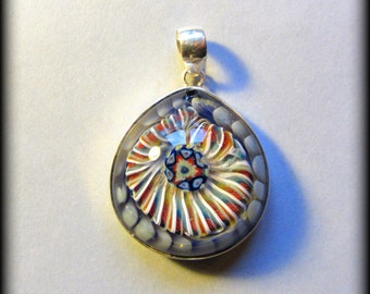 Glass implosion pendant set in sterling silver ~ implosion mandala millefiori~ borosilicate flameworked glass implosion~ W/ free cotton cord