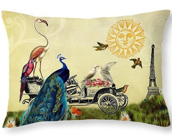 Whimsical Decor, Whimsical Pillows, Eiffel Tower, Paris Decor, Rectangle Cushion, Rectangular Pillow, Bird Decor, Peacock, Flamingo, Parrots