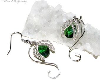 Snowdrops Earrings, flower earrings, wire earrings, Swarovski earrings, dryad earrings, floral earrings, Spring jewelry, flower jewelry