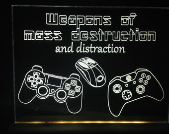weapons of mass destruction and distraction gameing playstation xbox pc light up sign