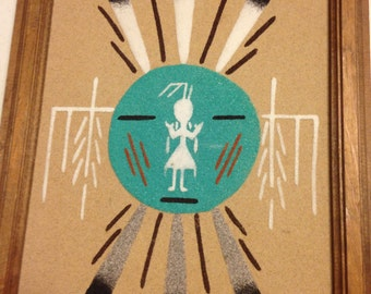 Beautiful Navajo Sand Painting, vintage