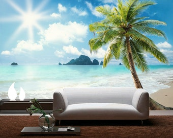 Seaside Decal for home - beach wall decal -self-adhesive wallpaper -wall covering custom design wall mural D-9600