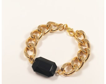 Black Facet Jewel Chunky Chain Bracelet - Silver or Gold