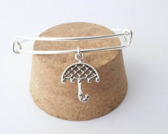 Rainy day umbrella silver charm bangle bracelet