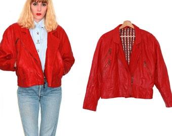 Red leather jacket / 80s vintage lamb leather jacket