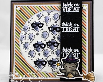 Trick or treat owl witch ghost card