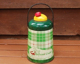 Vintage Pelican Cooler Jug, Vintage Plaid Picnic Jug, Green Plaid Cooler Jug