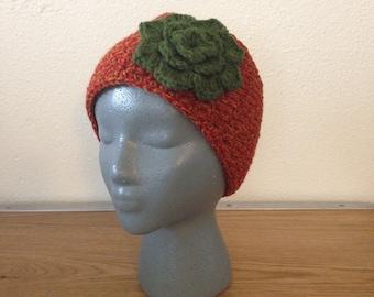 Red Headband | Fire Red Headwarmer | Red Earwarmer | Green Flower Headband | Green Flower Earwarmer | Button Earwarmer | Button Headband