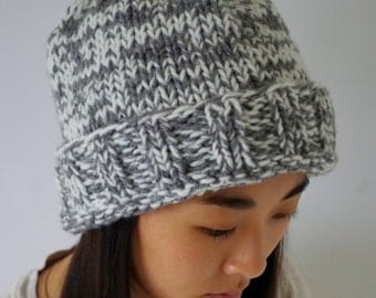 Gray and White Hand-knit Beanie