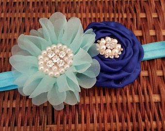 Royal Blue Flower girl baby headband - light blue Headband - Newborn,Toddler,Teen adult headband