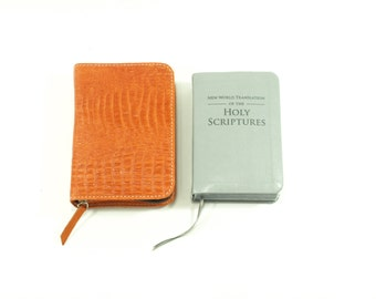 Pocket New World Translation NWT Bible Cover Jehovah's Witness - Mandarin Orange Leather Cover with zipper