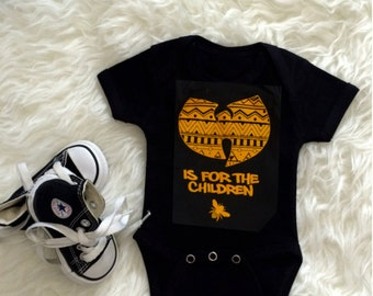 wu-tang is for the children onesie / aztec pattern / black / yellow /bee / creeper / bodysuit / baby / infant / hip hop/babyshower gift