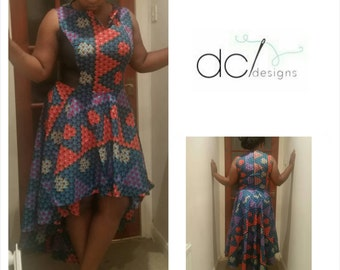Ankara / African wax print high low circle skirt dress.