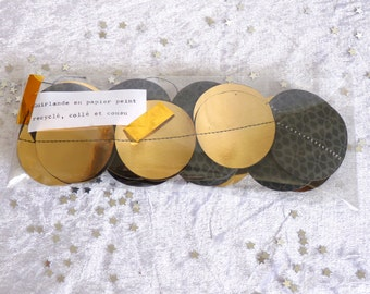 Recycled paper garland gold / black