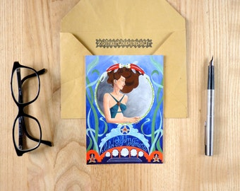 "Postcard ""Feeling like a Mermaid"", Mermaid, blue, Art Nouveau, postal art"