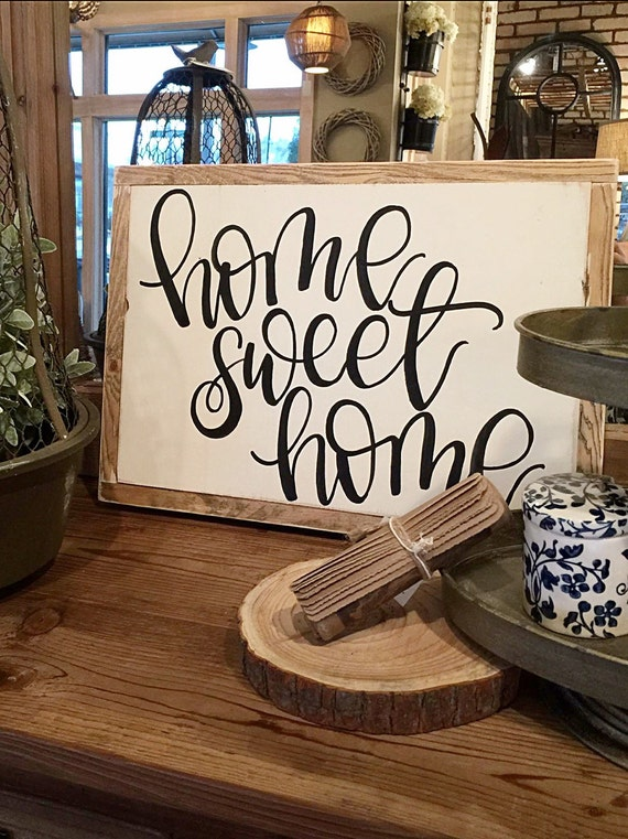 home sweet home hand painted sign home decor. Black Bedroom Furniture Sets. Home Design Ideas