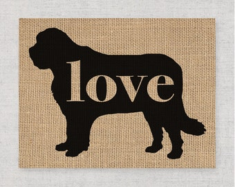Saint Bernard / St. Bernard Love - Burlap Wall Art Gift for Dog Lovers - Personalize Silhouette w/ Name - More Breeds (101p)