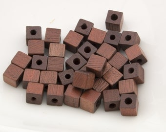 Vintage Small Cube Natural Wood Beads 5mm 36pcs for Jewelry and Crafts 10208002