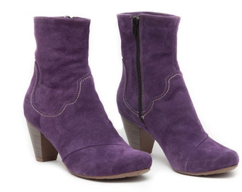 Purple Leather Boots, Ankle Boots, Leather Booties, Brown Boots, Winter Shoes, Purple Shoes , Free Shipping