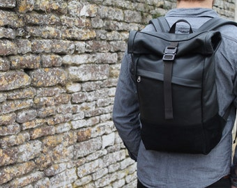 Black leather backpack with rolltop, Leather and Suede rolltop backpack, Leather Rolltop Backpack with padded laptop sleeve