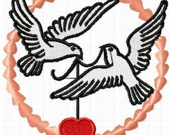 wedding doves embroidery file instant download