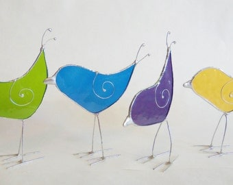 Stained Glass- Bird- Sun Catcher- Medium Blue- Home Decor