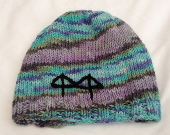 Knit Hat, Hand Knit Hat, Knit Beanie, Striped Beanie, Blue Purple Striped Hat, Made in San Francisco, Hand Knit Beanie, Hand Dyed Wool
