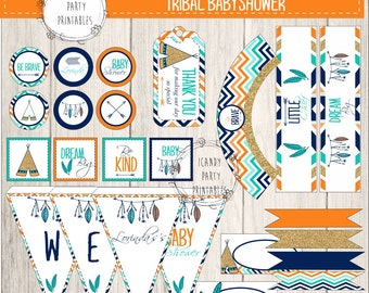 Tribal Baby Shower kit, Baby Shower, Printables, DIY,  Tribal Party Printables, Baby shower decor, Editable with Adobe Acrobat