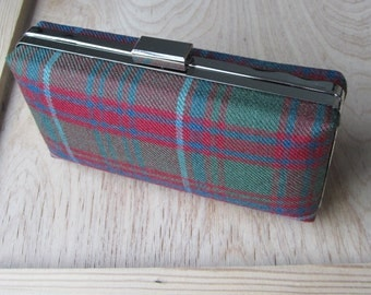 Grant Tartan Clutch Bag in Muted Colours, Ready to Ship