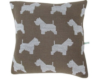 West Highland Terrier Knitted Cushion Cover