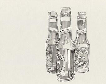 Mahou-original drawing, ink on A4 sheet