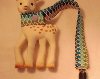 BatesCreates Sophie the Giraffe leash, tether, toy - 100% cotton fabric - topstitched (COLOURED DIAMONDS)