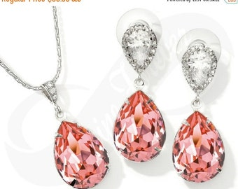 Bridesmaid Jewlery Set Bridal Swarovski Peach Rose Earrings Peach Rose Necklace Set Bridal Jewelry Necklace Bridal Set Bridesmaid Gift