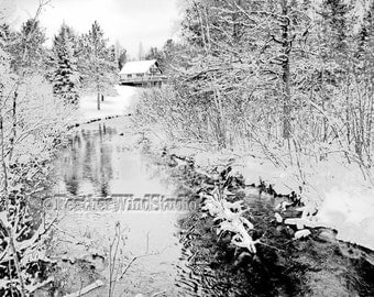Black and White Chalet Winter Landscape Pic House Cabin Snow Creek Art Northern Michigan Serene Setting Cabin on Stream Winter Cottage Print