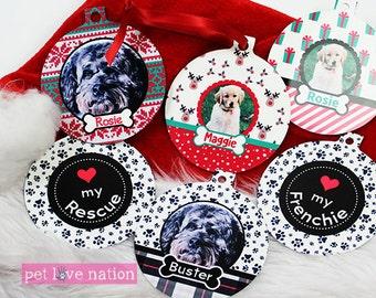 Personalized Christmas Pet Ornaments, Pet Photo Ornaments, Rescue Ornament, Monogrammed Ornament, Price for 1 Ornament
