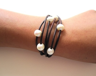 Leather and Pearl Bracelet - 6 Strand Leather Wrap Bracelet - Multi Strand Leather bracelet - pearl bracelet - leather and pearl jewelry