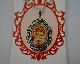 Harry Potter inspired, House Crest, Gryffindor necklace cameo