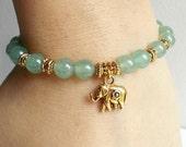 Green Aventurine Elephant Bracelet  Semiprecious Gemstone Bracelet  Boho Charm Bracelet  Reiki Heart Chakra Bracelet  GoldSilver