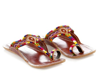 T-Strap Embroidery sandals