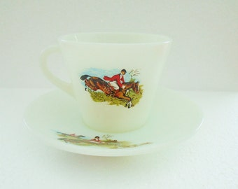 Pyrex JAJ Hunting Scene cup and saucer vintage tea cup Tally Ho