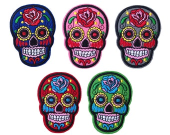Embroidered Iron On Appliques patch Colourful Skull NEW