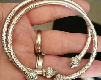 2 HEAVY hammered sterling silver bangle bracelets