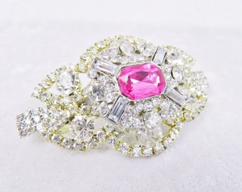 Royal Pink Jeweled Crystal Hair Barrette