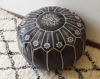 """SUMI-KURO  20""""x13"""" // Moroccan pouf ottoman // round embroidery L"""