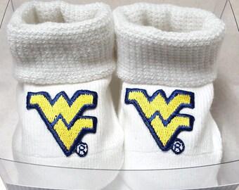 West Virginia Mountaineers Boxed Baby Booties