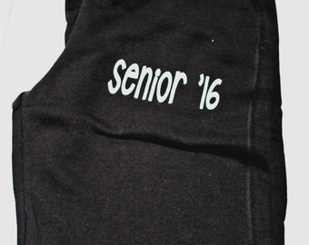 Personalized Sweatpants, Senior '16, Sweat Pants, Personalized, Glitter Vinyl Sweatpants, Sweatpants with Monogram, Senior 2016